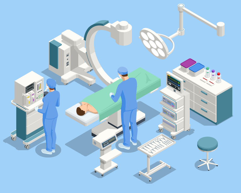 Illustration of surgery center equipment with physicians and a patient on the table